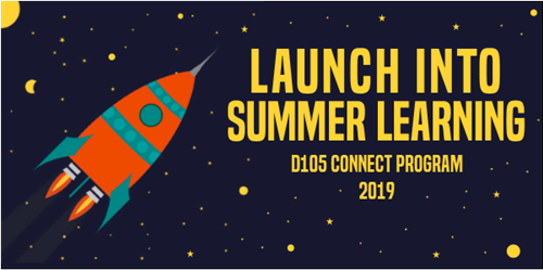 Launch Into Summer Learning logo with rocket shooting into outer space