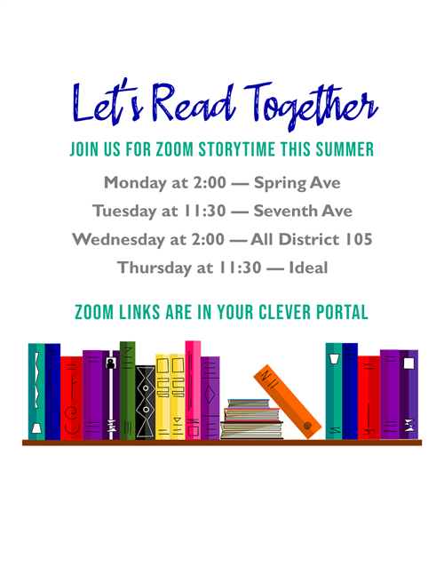 Zoom Storytime Schedule for Summer 2020