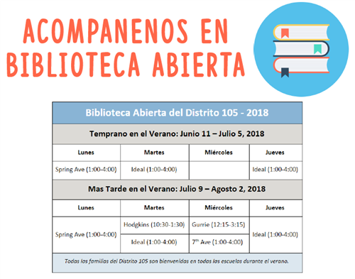 D105 Open Library Schedule in Spanish