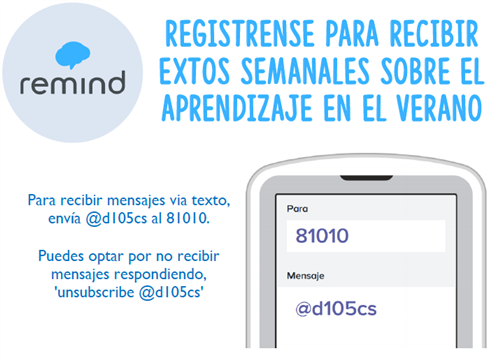 Remind App Sign Up information in Spanish