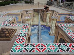 3D street painting at the Corniche in Abu Dhabi 2011